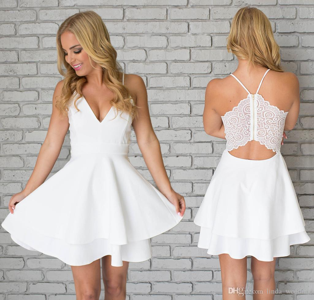 White Short Homecoming Dresses with Straps 2015