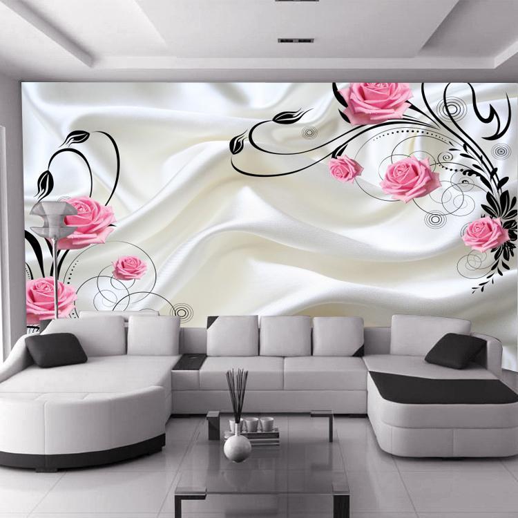 Charming Salon De La 3D #8: Vente En Gros Vente Chaude Peut Être Personnalisée Grande Peinture Murale 3d  Fond Du0027écran Salon De La Chambre Mode Moderne Rose Fleurs Rouges Roses  Produit ...