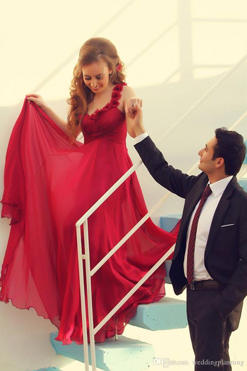 Arábia Saudita Longos Vestidos De Noiva Chiffon Apliques Vestido De Noiva Vestidos De Noiva Vermelho Sem Encosto Fora Do Ombro Vestido De Casamento De Casamento