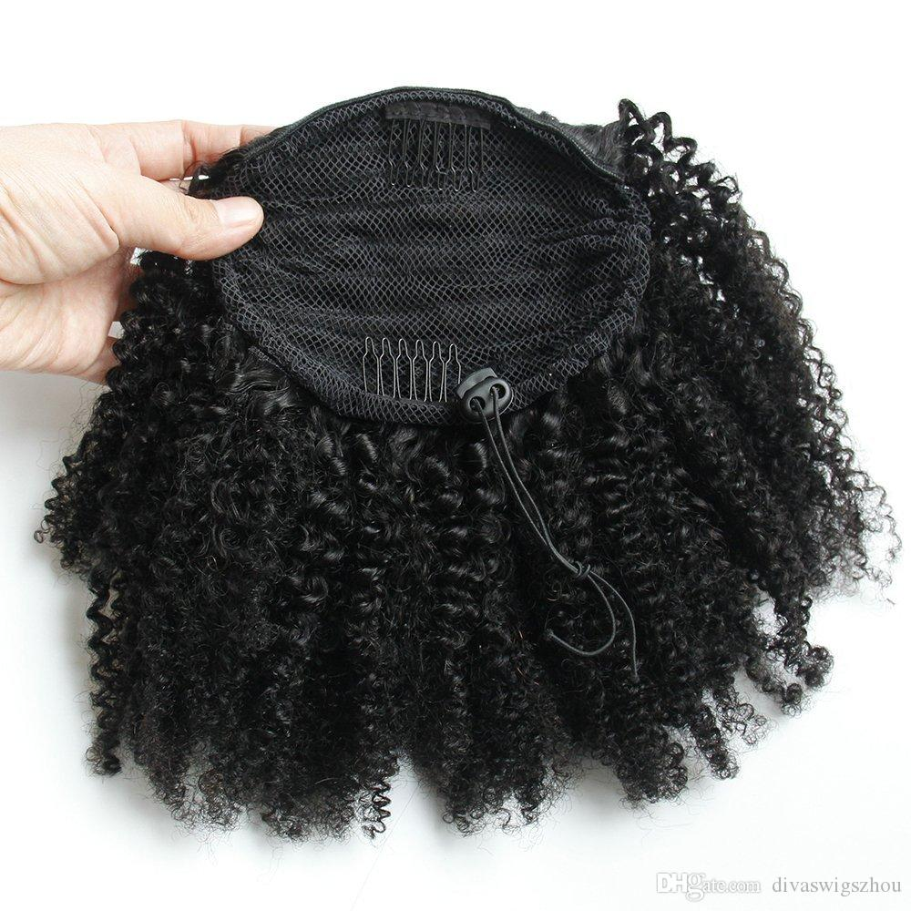 afro ponytail hairpieces Clip in Virgin peruvian hair drawstring ponytail Hair Extensions kinky curly humain hair ponytails Jet Black Color