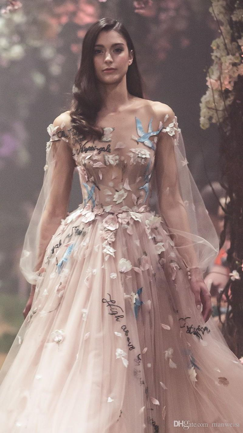 2019 New Sexy Paolo Sebastian Prom Dresses Blush Pink Long Sleeve Flower Embroidery Party Evening Gowns Ankle Length Tulle Formal Wear