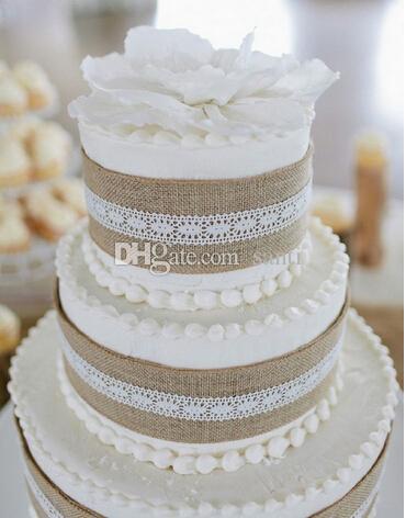 5 meter /5M Natural Jute Burlap Hessian Ribbon with Lace Trims Tape Rustic Wedding Decor wedding cake topper