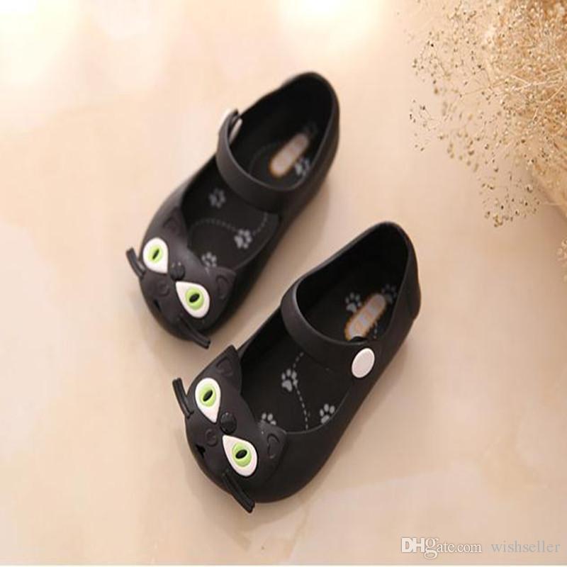 여름 아기 신발 어린이 소녀 샌들 달콤한 고양이 버클 스트랩 플랫 플라스틱 샌들 어린이 신발 젤리 신발