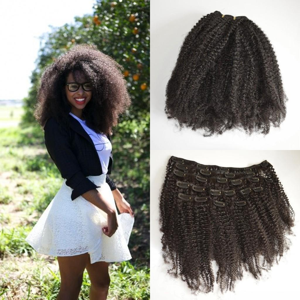 Afro Kinky Curly Clip In Human Hair Extensions Virgin Mongolian