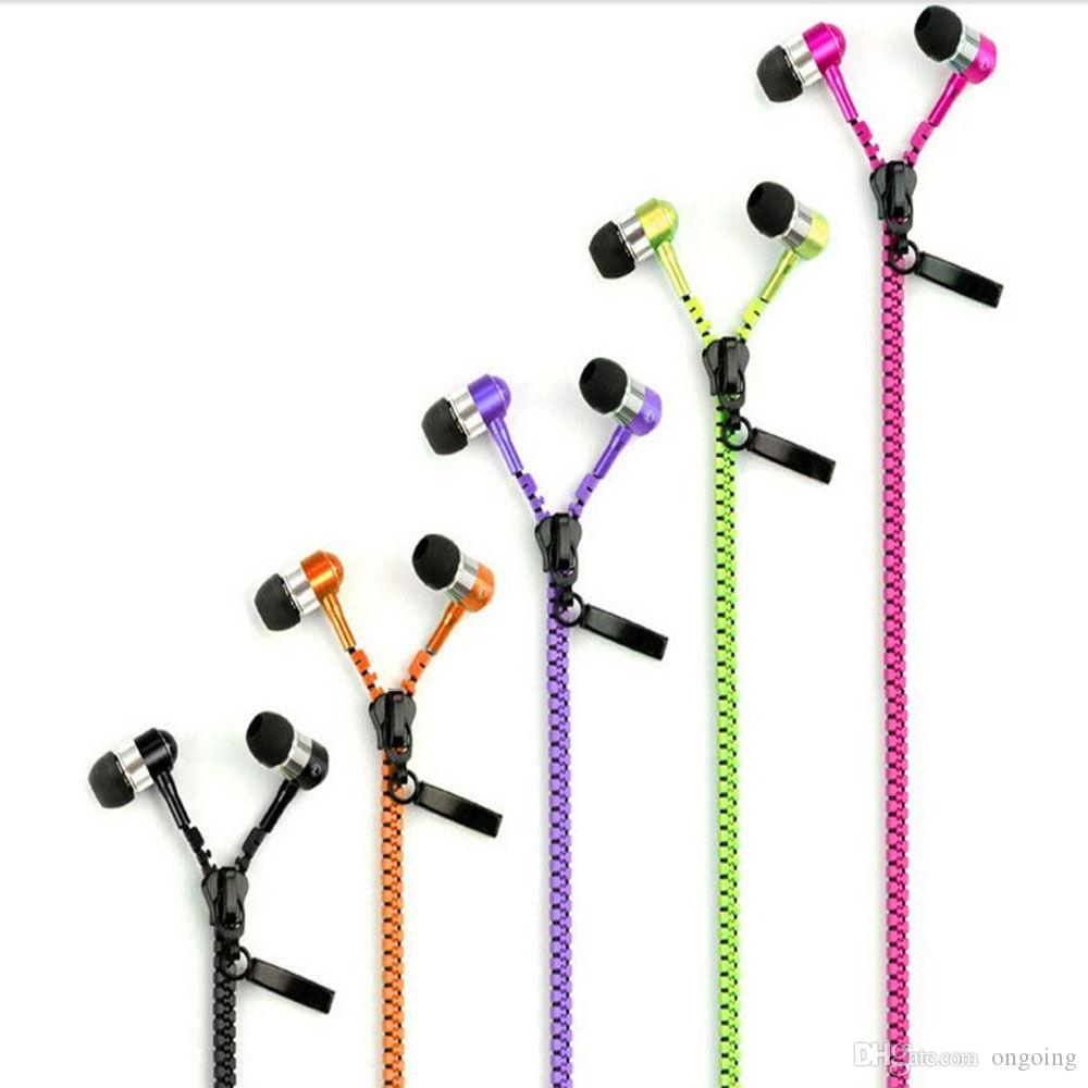 3.5 mm Jack In-ear Zipper Earphone Stereo Hands-free Headphones Earphones Earbud With Mic For Mp3 Player speaker For Iphone 6plus Samsung
