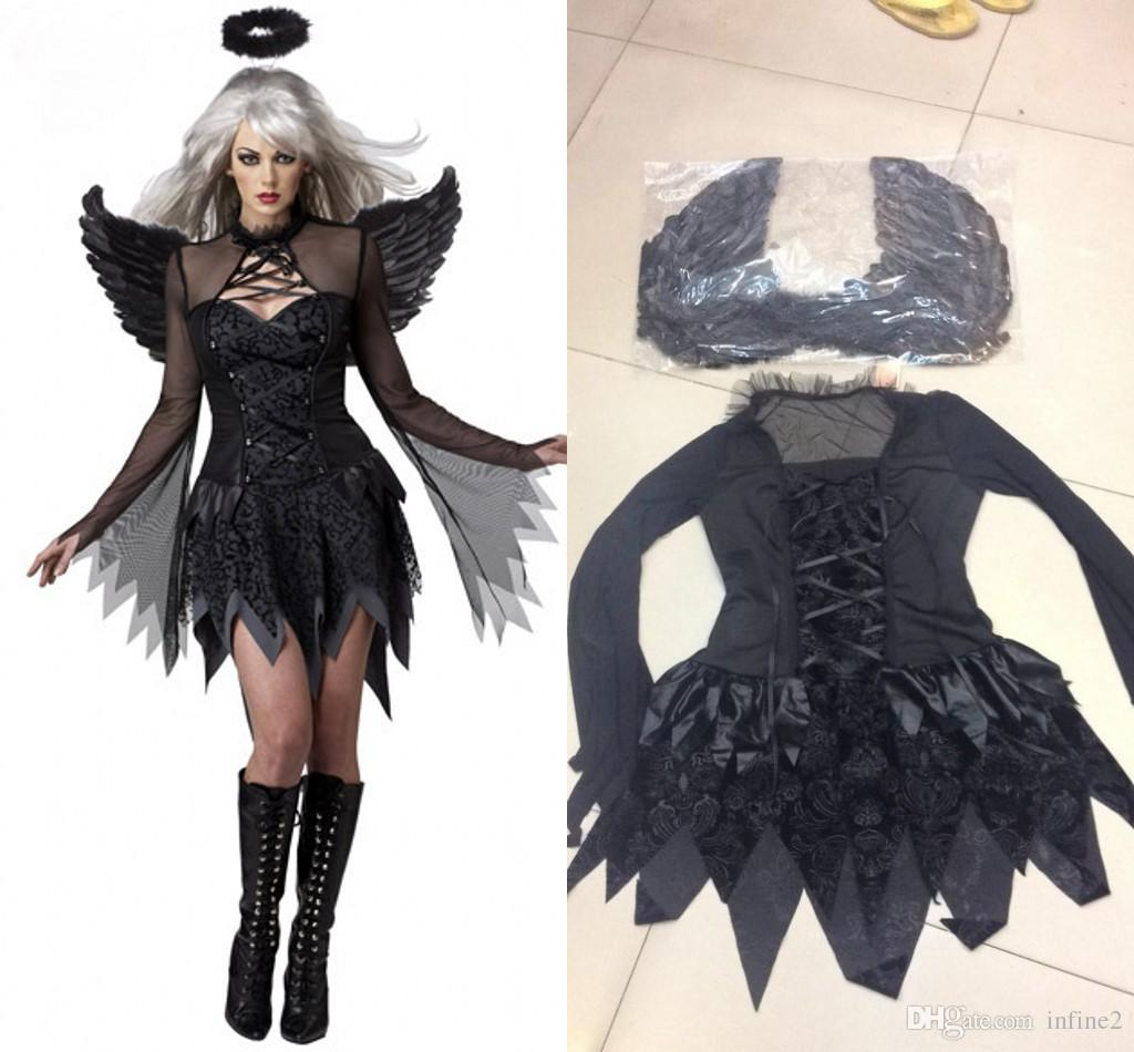 New Black Dark Devil Fallen Angel Costume avec aile Sexy Adult Cosplay Exotic Apparel Costume d'Halloween pour les femmes 8845