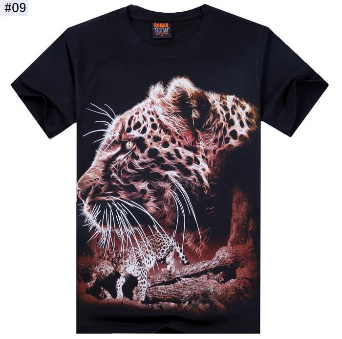 Camiseta 3d 2015 nuevo diseño de moda de los hombres ocasionales delgados masculinos 3D animal impreso verano Camisetas Masculinas