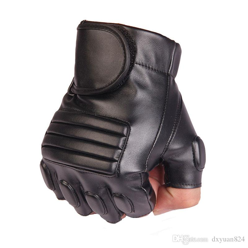 Classic Practical Mens Leather Fingerless Motorcycle Driving Cycling Gloves Perfect for Military Outdoor Sports Work Hiking Camping