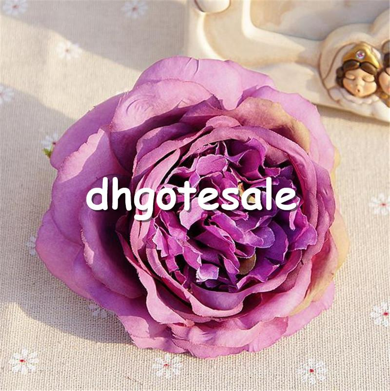 "Silk Rose Flower Head Dia. 10cm/3.94"" Artificial Flowers Oil Painting Camellia Tea Rose for DIY Bridal Bouquet Accessories"