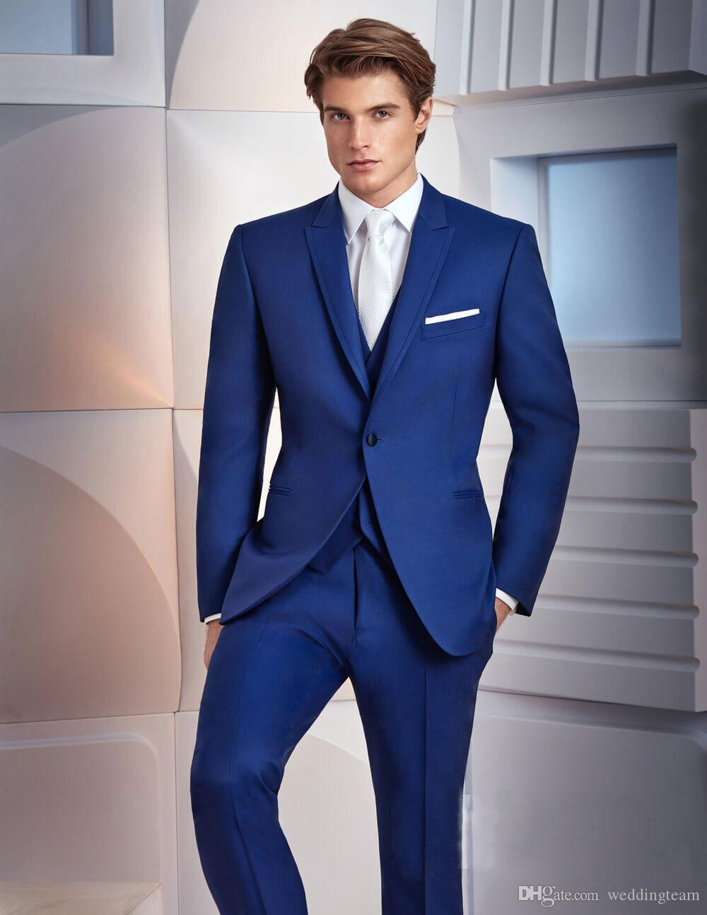High Quality Royal Blue Tuxedos Slim Fit Mens Wedding Suits One Button Groom Wear Three Pieces Cheap Formal SuitJacket+Pants+Vest+Bow Tie