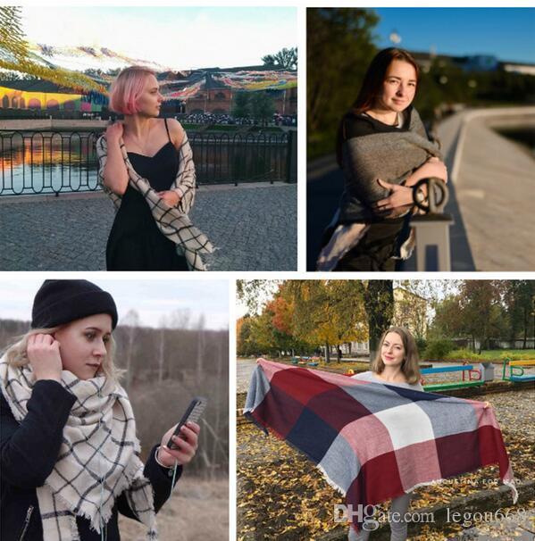 Nueva Bufanda de Invierno Moda Bufanda de Las Mujeres de Lujo A Cuadros de Cachemira Bufandas Mujeres Triángulo Vendaje Bufanda Al Por Mayor 140 * 140 * 210 G1195