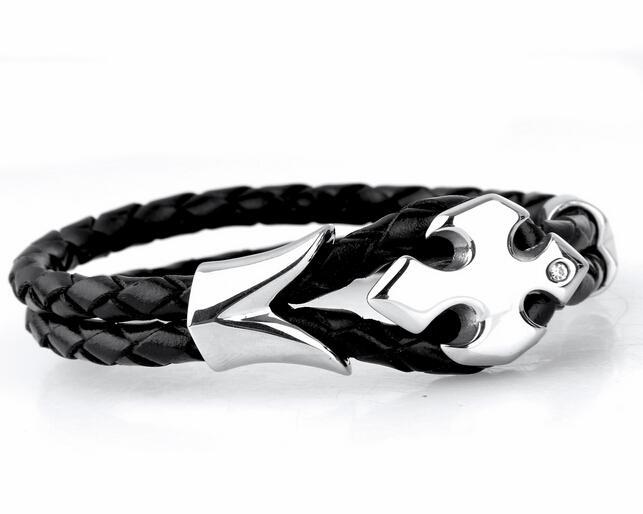 Nouvelle arrivée brillant cristal croix fleur desige en acier inoxydable noir Double bracelet en cuir Mode Hommes Bijoux Bijoux Bracelet