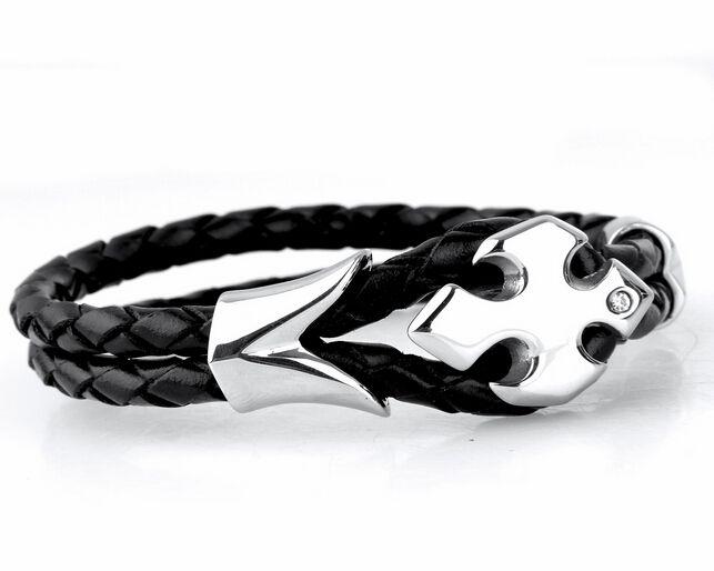 Nueva Llegada Brillante Cristal Cruz Flor desige acero inoxidable negro Doble pulsera de cuero Moda Hombres Mujeres Joyería Brazalete