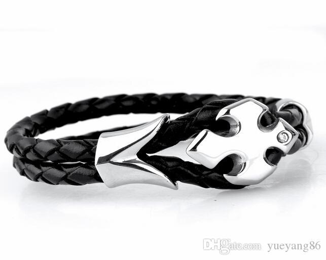 Nuovo arrivo Brillante Croce di cristallo Fiore desige in acciaio inossidabile nero Braccialetto di cuoio doppio Braccialetto di gioielli delle donne degli uomini di moda