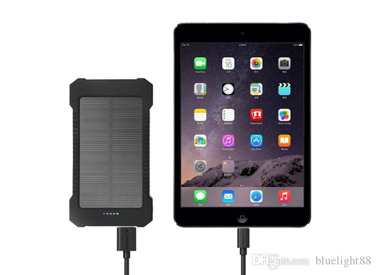 20000mAh Solar Power Bank 2 USB Port Charger External Backup Battery With Retail Box For iPhone Samsung cellpPhone charger