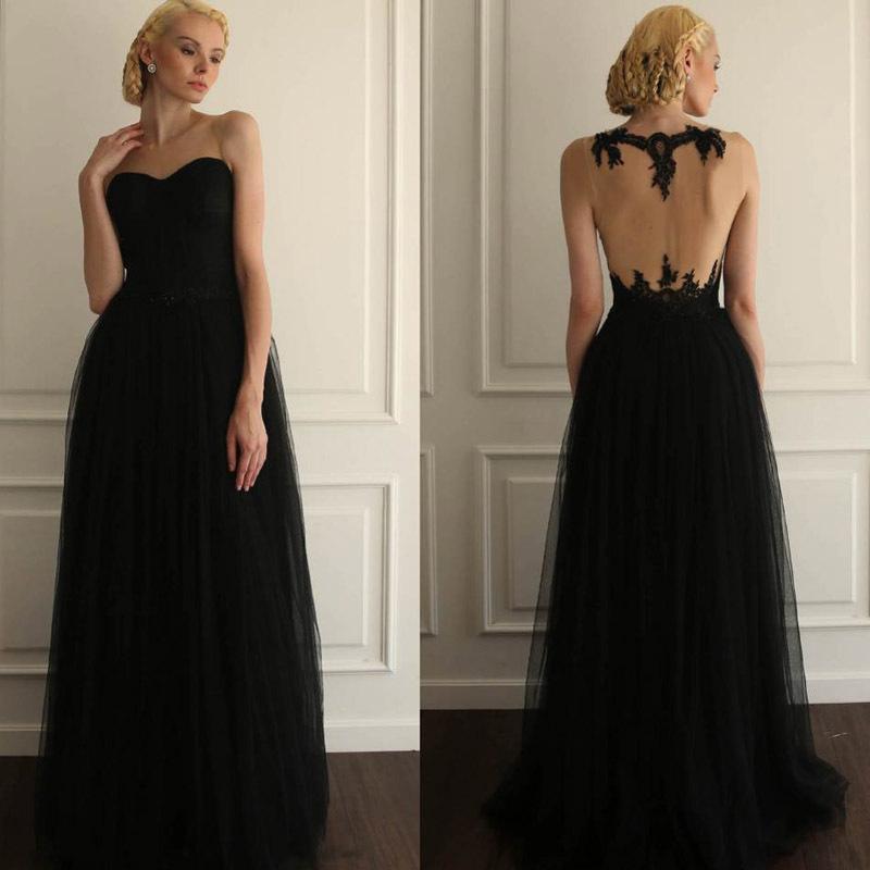 Black lace full length dress