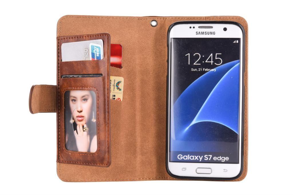 Funda de cuero con cremallera multifunción para Samsung Galaxy S8 S8 Plus S7 S7 borde J5 J3 J7 2017 A3 A7 A5 2017 cubierta de la caja del teléfono