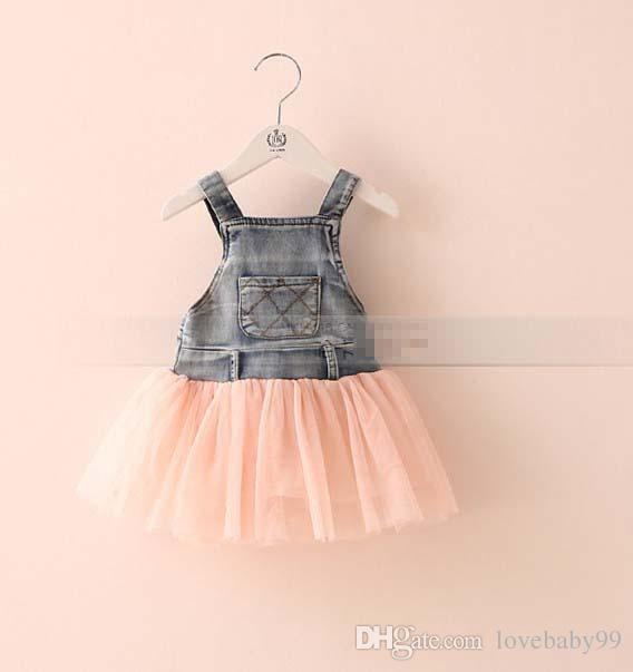 Layette jean délavé enfants Robe en dentelle Jarretière TUTU Tiered Tulle Strap Robes 2015 Party Cowboy Dressy Beige Blanc Rose I2597