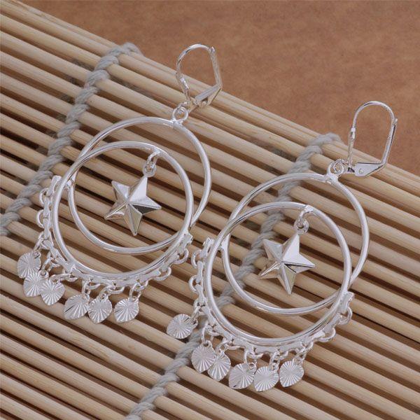 Moda Takı Üreticisi 20 adet çok daire asılı kalp küpe 925 ayar gümüş takı fabrika fiyat Moda Parlatıcı Küpe