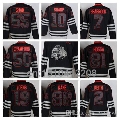 2019 Chicago Blackhawks Skull Jersey Ice Hockey Patrick Kane Jonathan Toews  Andrew Shaw Marian Hossa 2014 Stanley Cup Champions Patch From Probowl 2e89beff53f40