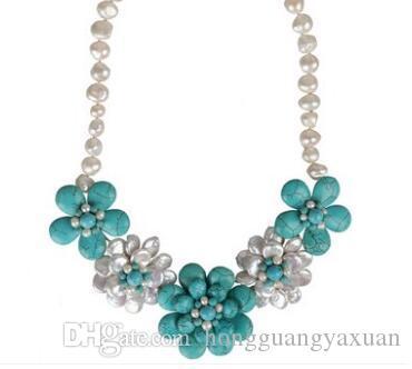 Collar de perlas naturales de color turquesa preparado a mano puro accesorio para mujer estilo corto de clavícula adorno antiguo