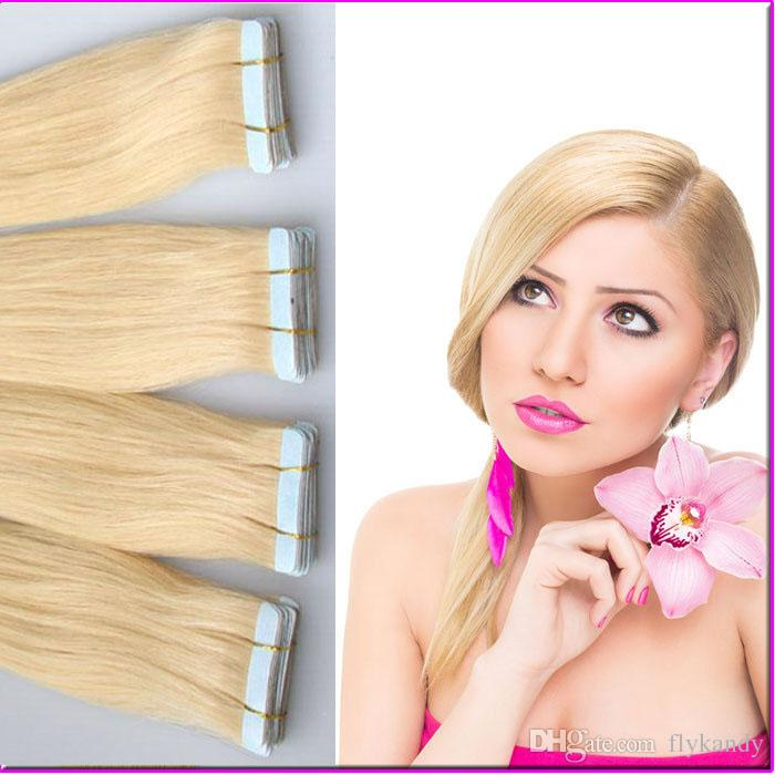 Superior Quality Platinum Blonde Seamless Pu Skin Weft Human Hair