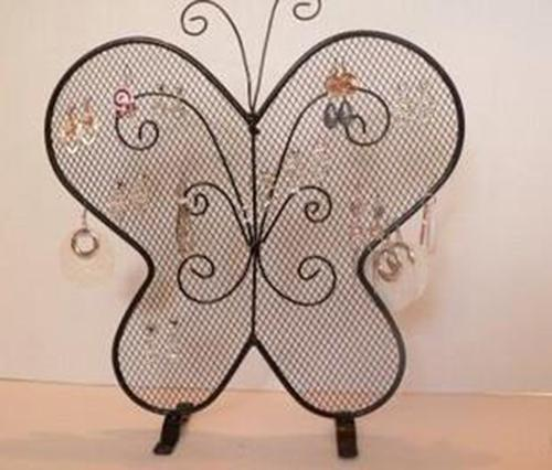 Smeedijzeren Butterfly Mesh Earring Accessoires Stud Display Stand Shelf Sieraden Houder Storage Rack Gift Crafts