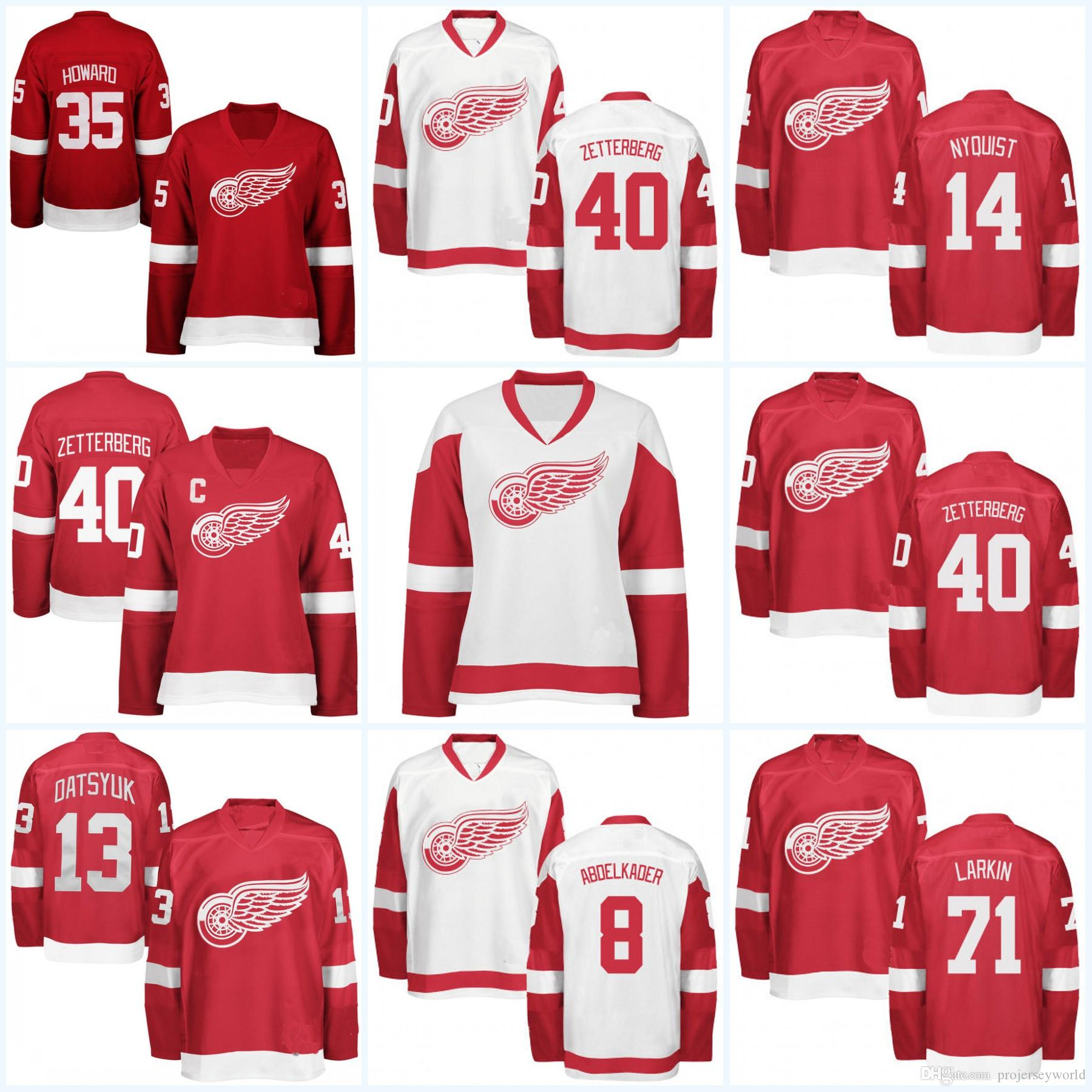 Womens Detroit Red Wings Jersey 40 Henrik Zetterberg 71 Dylan Larkin 13  Pavel Datsyuk 19 Steve Yzerman 9 Gordie Howe Hockey Jerseys Detroit Red  Wings ... 70b7a81ab