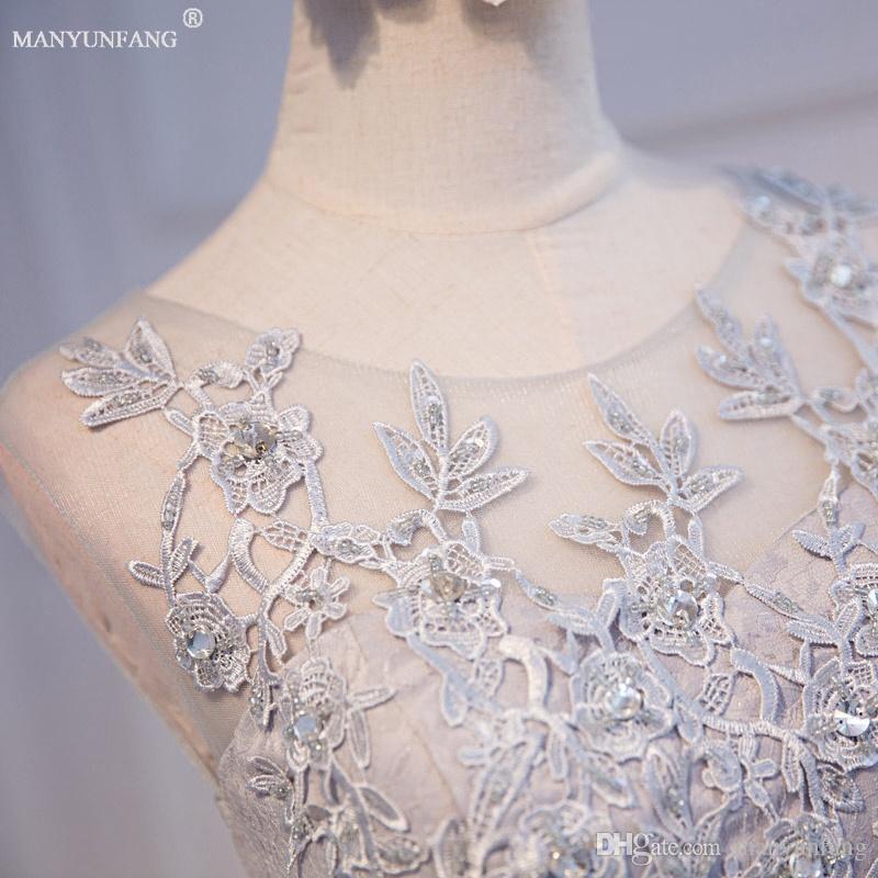 Şık Lüks Şeffaf Boyun Gelinlik Modelleri Dantel Aplike Wedding Guest Elbise Şeffaf Arka Diz Boyu Dantel Ucuz Resmi Elbise 2020