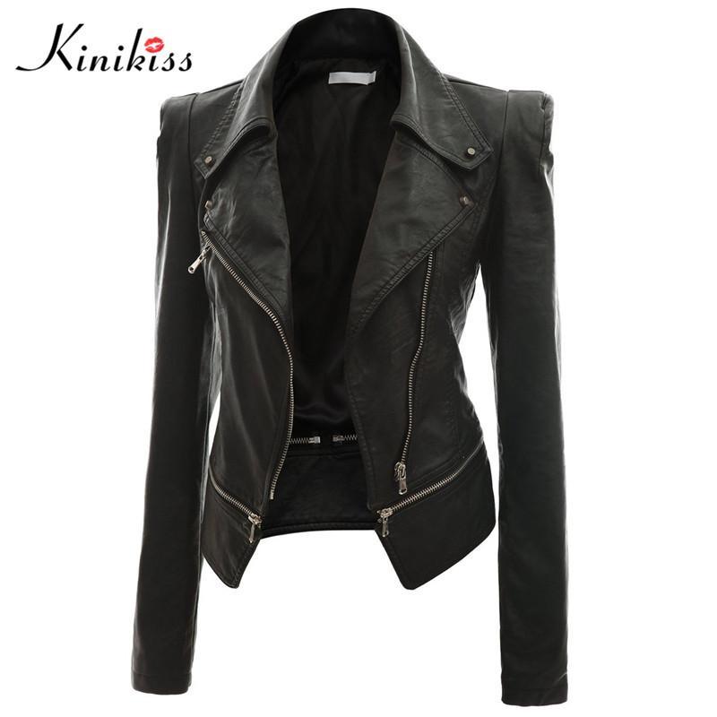 e7d7d7a19 Wholesale- Kinikiss 2017 fashion women short black leather jacket coat  autumn sexy steampunk motorcycle leather jacket female gothic coat