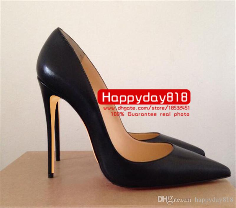 fashion women pumps Black kid leather point toe high heels cone heel shoes boots genuine leather 120mm