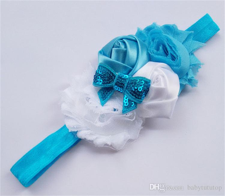 Kids Hair Accessories Cute Colors Cheap Hair Accessories Chiffon Material with Flowers Newborn Baby Girl Headbands LY002