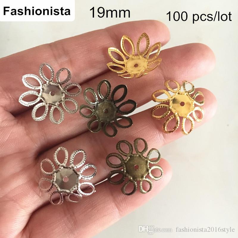 Wholesale 100pcs Tibetan Silver Tone Small Flower Bead Caps Antique Silver 5mm
