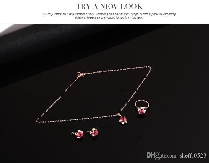 Moda Conjuntos de Jóias de Casamento de Cristal de Alta Qualidade Colar Brincos Anéis Set Para As Mulheres Melhor Presente Da Jóia 61152055