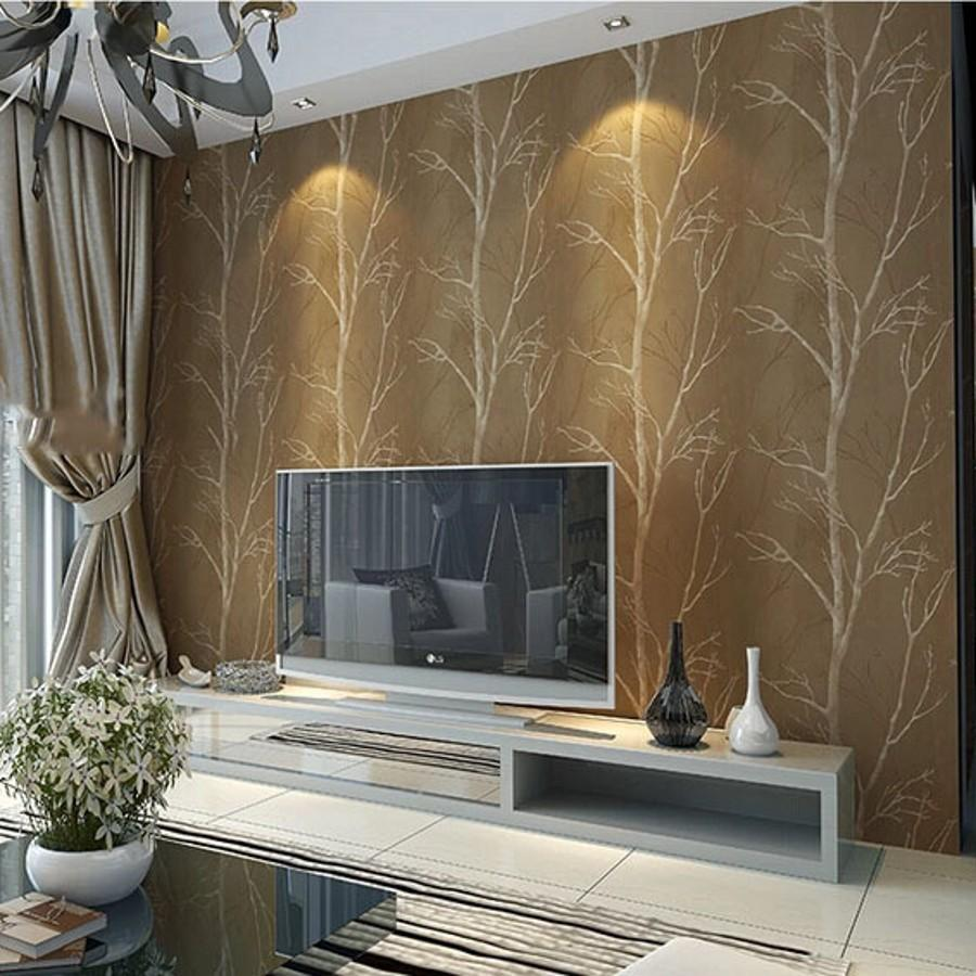 Natural Design Tree Forest Textured Wallpaper Roll Wallcovering