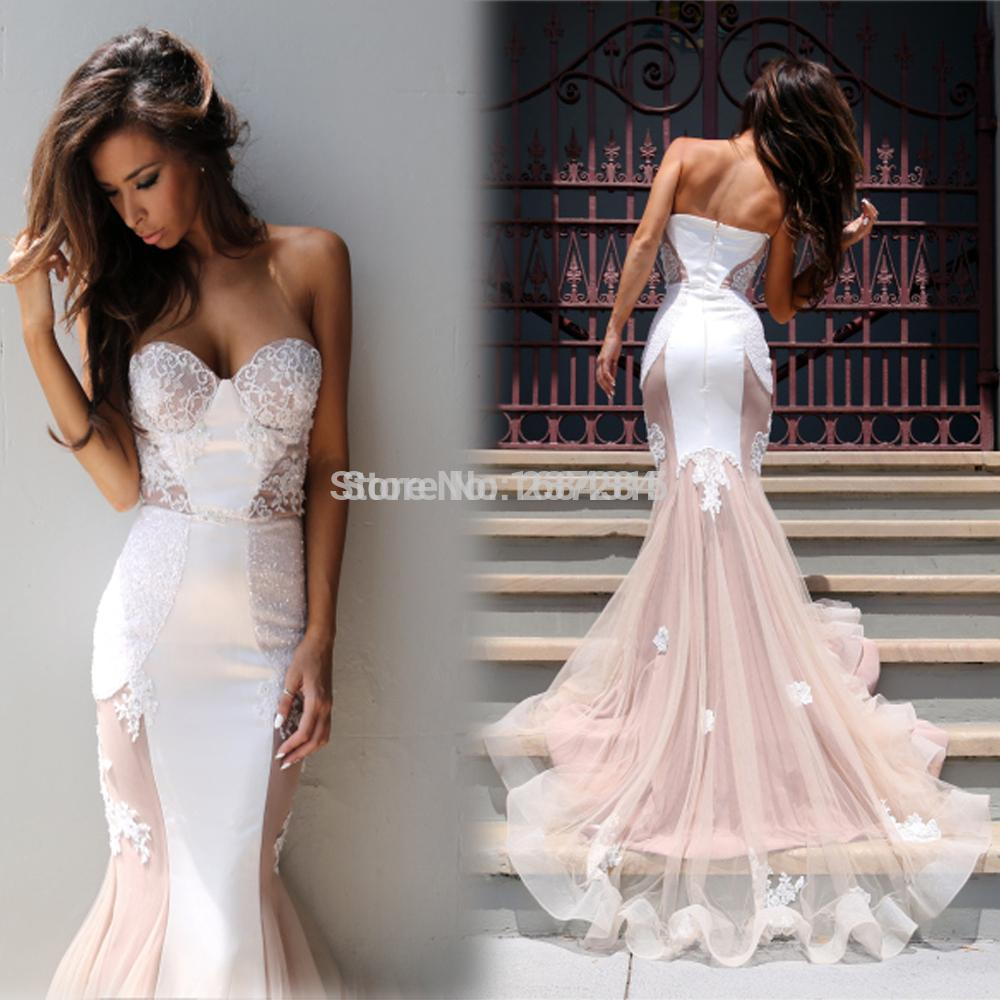 Beautiful Sweetheart See Through White And Pink Lace Appliques Tulle ...