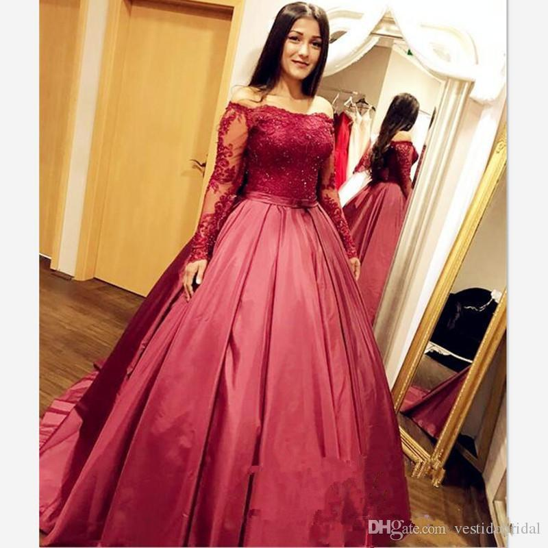 Burgundy Long Sleeve Prom Dress Africa Off Shoulder Lace Satin ...