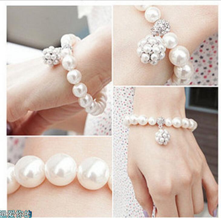 2.020 Tamanho Bridal Party Estilo Coreano casamento jóias pulseira pérola do falso Rhinetone gratuito Evening Partido Prom Pulseira Acessórios nupcial