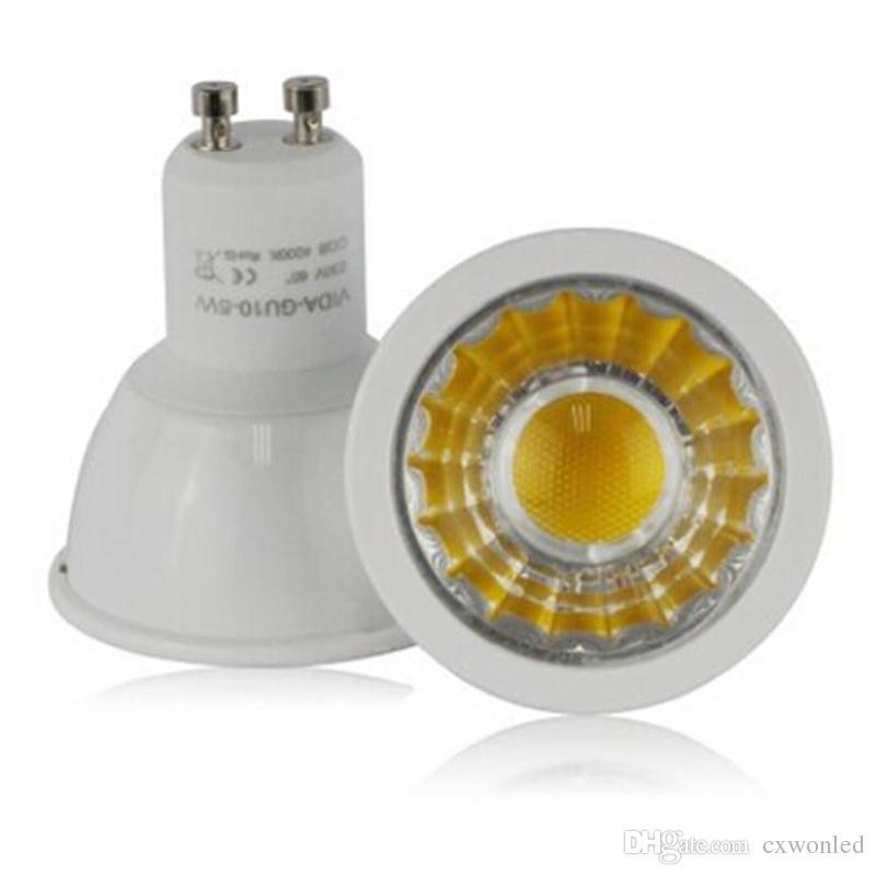 GU10 6W COB LED Reflektory Ściemniane AC110-240V Plastikowe aluminiowe dom światła punktowe zimna / ciepła biała lampa Darmowa Wysyłka 50 sztuk / partia LVD UL VDE