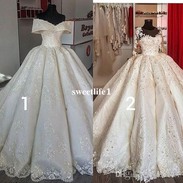 2019 Dubai Princess Style Ball Gown Wedding Dresses Off The Shoulder Appliques Lace Crystal Bridal Gown Custom Made