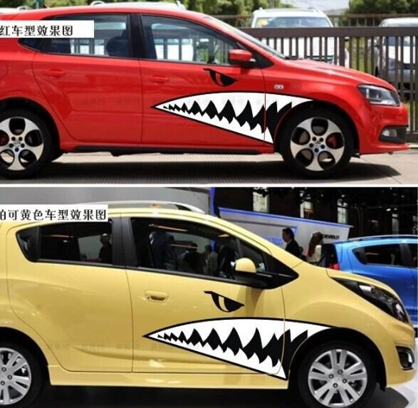 Sharks mouth shark car stickers personalized car stickers funny car modified off road vehicles converted stickers ap 037 online with 14 65 set on arjunxus
