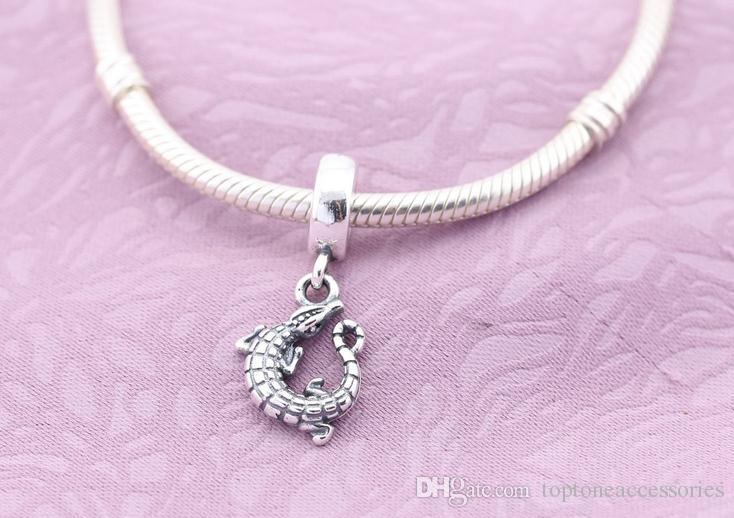 Sterling Silver Charms 925 Ale Crocodile Dangled European Charms pour Pandora Bracelets Animal Perles Accessoires Livraison Gratuite
