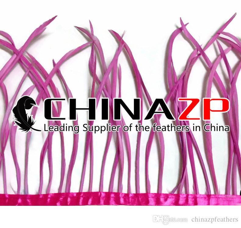 Gold Manufacturer CHINAZP Crafts Factory 10yards15~20cm6~8inch in Width Cheap Wholesale Dyed Rose Pink Goose Biots Feather Trim