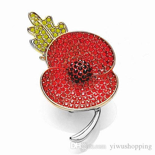 2015 Newest The Royal British Legion Silver Plated Red and Black Crystal Rhinestone Flower Brooch Pins For Remembrance Day