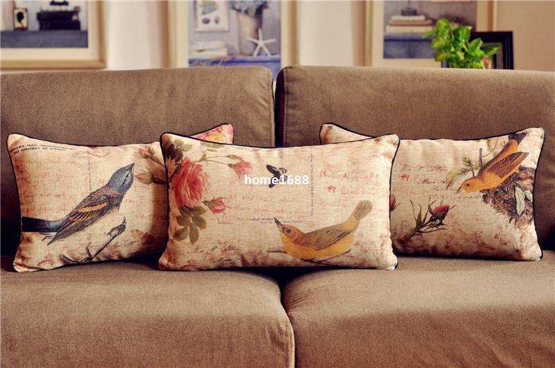 Vintage Country Floral Bird Cushion Cover Waist Throw Cotton Linen Cushion  Pillow Home Decorate Sofa Cushions 30*50cm Patio Cushions On Sale Outdoor  Chaise ...