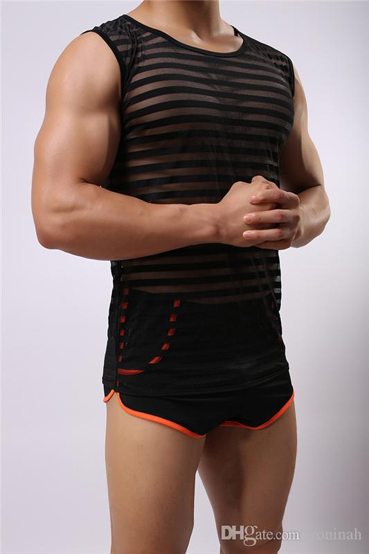Wholesale- Fashion Sexy Mens Stretch Mesh Sheer See Through Summer T-Shirt Undershirt Underwear Vest Shino Men's Bodysuit