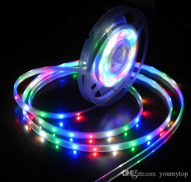 Silicone+ Epoxy injection IP68 Waterproof 300LEDS 5M/Roll RGB LED Strip 3528 SMD LED Ribbon Light 60led/m For Swimming pool