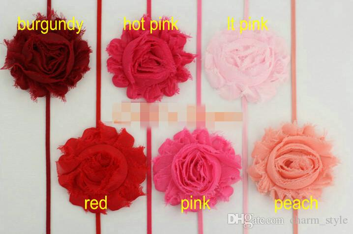 """30% off 2.5"""" Frayed Chiffon Chic Shabby Rosette Flowers 1/8"""" Skinny Elastic Christmas Headband for Baby kids Adult Accessories"""