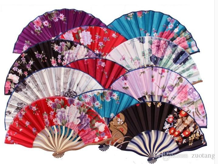 장식 대나무 접는 손 팬 휴대용 꽃 일본 포켓 팬 여성을위한 중국 실크 패브릭 팬