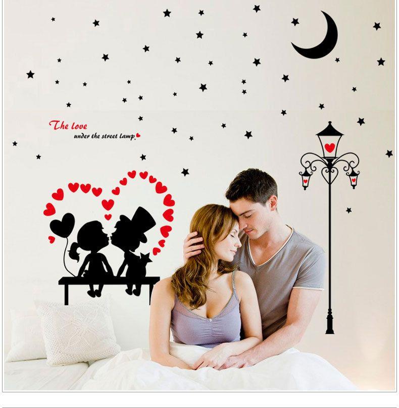 De Liefde Onder de Straat Lamp Wall Art Muurschildering Decor Sticker Woonkamer Slaapkamer Romantische Muur Citaat Decal Poster DIY Home Wall Applique